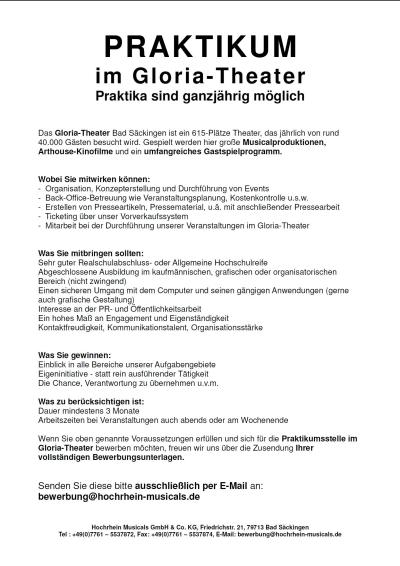 Gloria-Theater - Jobs