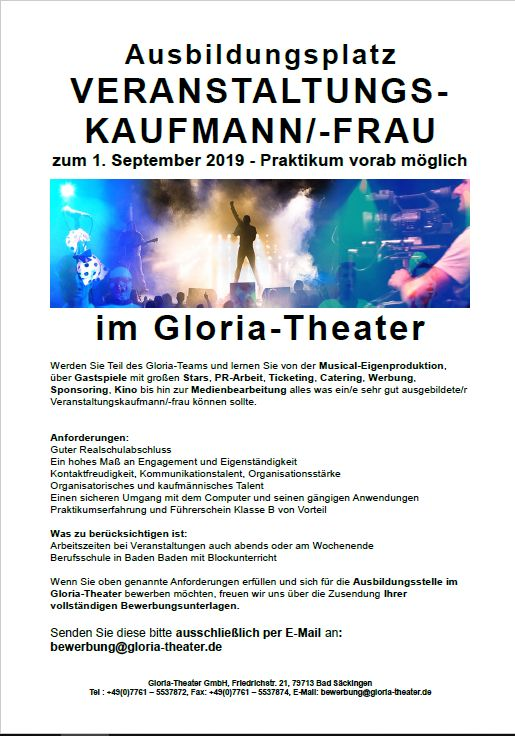 Gloria Theater Jobs