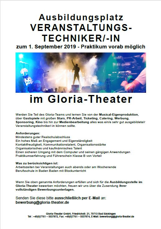 Gloria Theater Jobs